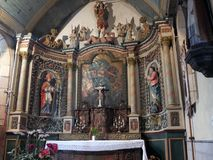 Naive Baroque altar . Baroque altar of naive style, Brittany, France Royalty Free Stock Images