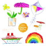 Childrens naive drawing Royalty Free Stock Photography