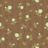 Naive flowers, brown Royalty Free Stock Images
