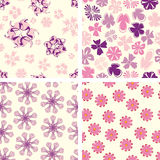 Naive flowers in pattern. Set Royalty Free Stock Photo