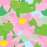 Naive frog relax melancholy seamless pattern. Illustration abstract melancholy frog naive lotus cloud sky green color background Royalty Free Stock Photos