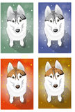 Naive Huskies. Vector drawing options sitting Huskies Royalty Free Stock Image