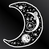 Naive kawaii night crescent moon space composition vector illustration