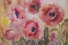 Naive poppies with yellow and pink background Royalty Free Stock Images