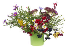 Naive rural October bouquet. Naive rural bouquet from autumn October flowers and berries  in green a mug. Isolated on white Stock Photos