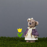 Naive simple bear with a tulip is waiting her friend. Toy bear with a yellow tulip is standing on the green grass Stock Image
