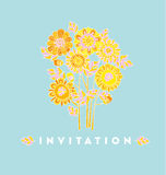 Naive style hand drawn decorative Marigold flower Royalty Free Stock Photography
