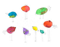 Naive style simple colorful birds on white background Stock Image