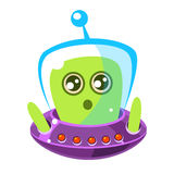 Naive and surprised green alien in a flying saucer, cute cartoon monster. Colorful vector character Royalty Free Stock Photography