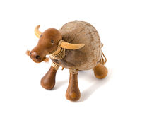Naive Thai cow or bull sculpture figure. Made of wood and coconut Stock Photography