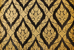 Naive Thai style of Gilded Black Lacquer Stock Image