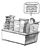 Naive to Work the Weekend. Business cartoon about being busy.  The woman's desk is overflowing with paperwork, maybe she was naive to volunteer to work the Royalty Free Stock Photography