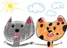 Najlepsi Przyjaciele tła rysunku ołówka drzewny biel Fotografia Royalty Free