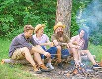 Najlepsi przyjaciele wydają czas wolny podwyżki weekendowego grilla natury lasowego tło Firma przyjaciół pinkin blisko lub grill fotografia stock