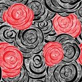 najlepsza nowożytna ornamentu wzoru klingerytu replicate róża bezszwowa ilustracja wektor