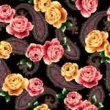 najlepsza nowożytna ornamentu wzoru klingerytu replicate róża bezszwowa Zdjęcia Royalty Free
