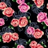 najlepsza nowożytna ornamentu wzoru klingerytu replicate róża bezszwowa Obrazy Royalty Free