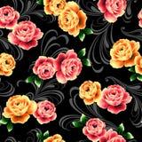 najlepsza nowożytna ornamentu wzoru klingerytu replicate róża bezszwowa Obraz Stock