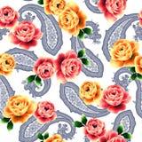 najlepsza nowożytna ornamentu wzoru klingerytu replicate róża bezszwowa Obrazy Stock