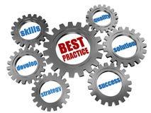 Najlepsza praktyka - biznesowi pojęcia srebra gearwheels Zdjęcia Royalty Free