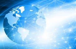 najlepszego biznesowego pojęcia globalni internety Kula ziemska, jarzy się wykłada na technologicznym tle Elektronika, Fi, promie Fotografia Royalty Free