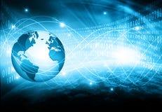 najlepszego biznesowego pojęcia globalni internety Kula ziemska, jarzy się wykłada na technologicznym tle Elektronika, Fi, promie Zdjęcie Royalty Free