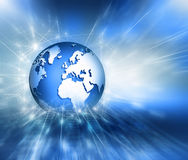 najlepszego biznesowego pojęcia globalni internety Kula ziemska, jarzy się wykłada na technologicznym tle Elektronika, Fi, promie Zdjęcia Stock