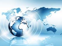 najlepszego biznesowego pojęcia globalni internety Kula ziemska, jarzy się wykłada na technologicznym tle Elektronika, Fi, promie Obraz Stock