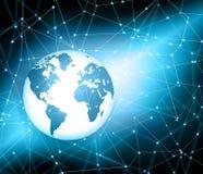 najlepszego biznesowego pojęcia globalni internety Kula ziemska, jarzy się wykłada na technologicznym tle Elektronika, Fi, promie Fotografia Stock