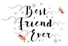 Najlepszego Przyjaciela Kiedykolwiek kwiatu karta Obraz Royalty Free