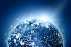 najlepszej biznesowej pojęcia pojęć globalnej kuli ziemskiej rozjarzone ręki internetów serie Obrazy Stock