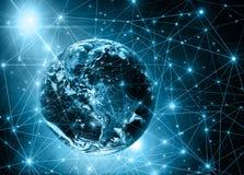 najlepszej biznesowej pojęcia pojęć globalnej kuli ziemskiej rozjarzone ręki internetów serie Obraz Stock
