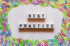 Najlepszej praktyki słowa pojęcie fotografia stock