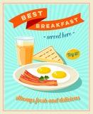 Najlepszy śniadanie - rocznik restauraci znak Retro projektujący plakat z smażącymi jajkami, plasterkami bekon, grzanką i szkłem  ilustracja wektor