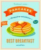 Najlepszy śniadanie - rocznik restauraci znak Retro projektujący plakat z stosem best w grodzkich blinach z masłem i klonowym syr royalty ilustracja