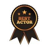Najlepszy aktor nagrody różyczkowy tasiemkowy wizerunek ilustracja wektor