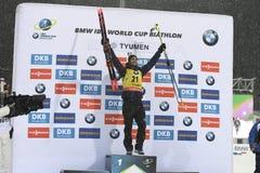 Najlepszy biathlete sezon 2017/2018 Martin Fourcade Francja Obrazy Royalty Free