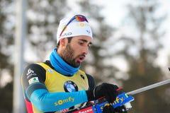 Najlepszy biathlete sezon 2017/2018 Martin Fourcade Francja Fotografia Stock