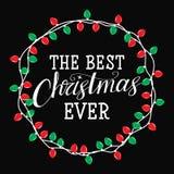 Najlepszy boże narodzenia kiedykolwiek witamy w nowym roku Zimy karta lub plakatowy projekt Obrazy Stock