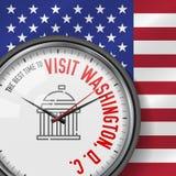 Najlepszy czas dla wizyty Waszyngton, d C Wektoru zegar z sloganem tła fajerwerków chorągwiany nocne niebo gwiaździści usa analog royalty ilustracja