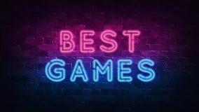 Najlepszy gier neonowy znak, wielki projekt dla żadny zamierza 3 d czyni? nowoczesne projektu Retro emblemata projekt Szczelina n ilustracja wektor