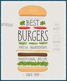 Najlepszy hamburgeru plakat - ręka rysujący styl Fotografia Royalty Free