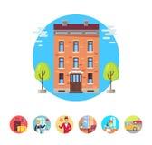 Najlepszy Hotelowe Odosobnione ilustracje w okręgach Ustawiających ilustracja wektor