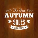 Najlepszy jesieni sprzedaży rocznik na drewnianym tle Obrazy Stock