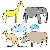 Najlepszy kreatywnie kolorowej ilustraci pojęcia ustalony zwierzęcy projekt royalty ilustracja