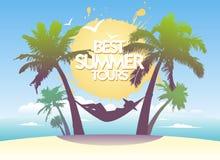 Najlepszy lato wycieczki turysycznej projekta szablon. Obraz Stock
