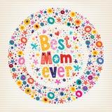 Najlepszy mam matek dnia kwiatów Kiedykolwiek Szczęśliwa karta Zdjęcia Royalty Free