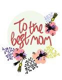 Najlepszy mama Matka dnia kartka z pozdrowieniami w skandynawa stylu R?ki literowanie i kwiecista dekoracja Miękcy kolory royalty ilustracja