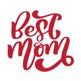 najlepszy mamo Ręcznie pisany literowanie tekst dla kartka z pozdrowieniami dla szczęśliwego matka dnia Odizolowywający na białym royalty ilustracja