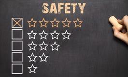 Najlepszy pięć bezpieczeństwa złote gwiazdy chalkboard Fotografia Stock
